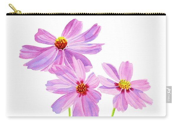 Three Pink Cosmos Blossoms Square Design Carry-all Pouch