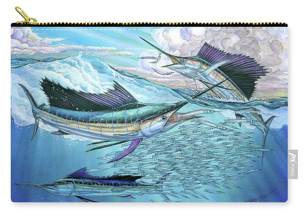 Three Sailfish And Bait Ball Carry-all Pouch
