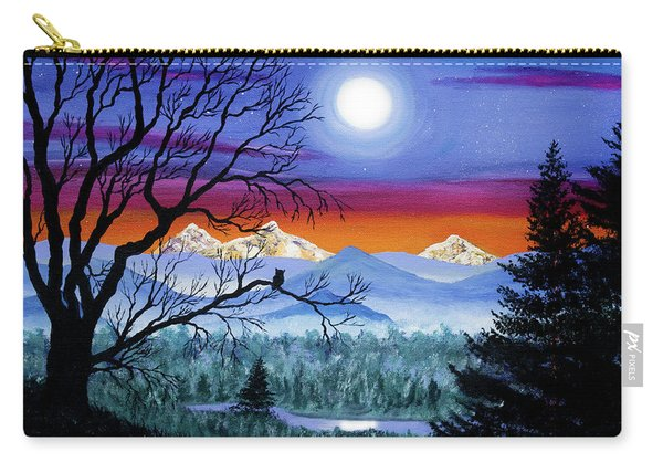 Three Sisters Overlooking A Moonlit River Carry-all Pouch
