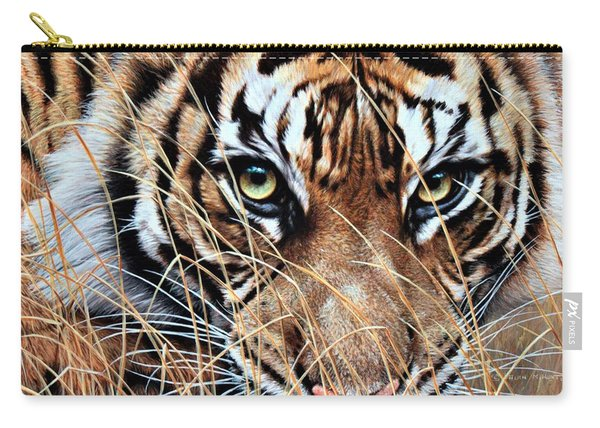 Carry-all Pouch featuring the painting Tiger Eyes By Alan M Hunt by Alan M Hunt