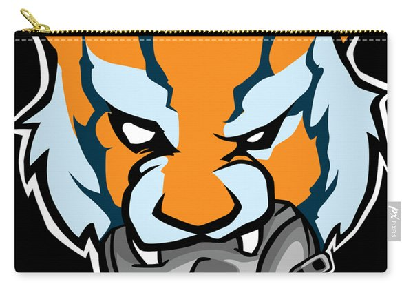 Tiger Head Bitting Beer Can Orange Carry-all Pouch