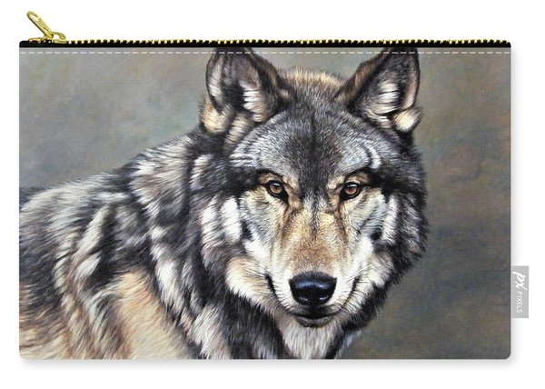 Carry-all Pouch featuring the painting Timber Wolf By Alan M Hunt by Alan M Hunt