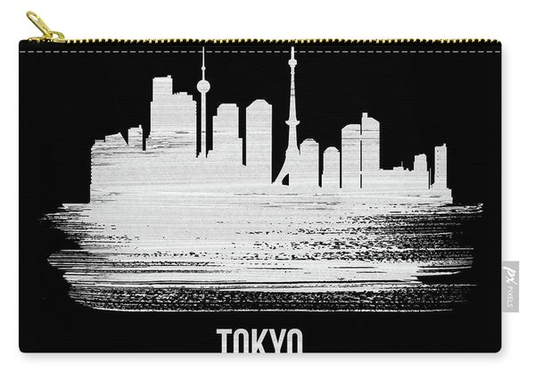 Tokyo Skyline Brush Stroke White Carry-all Pouch