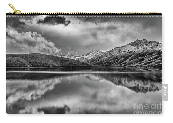 Topaz Lake Winter Reflection, Black And White Carry-all Pouch