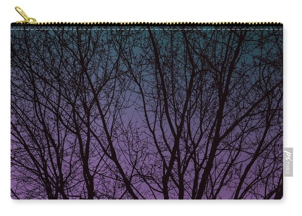 Tree Silhouette Against Blue And Purple Carry-all Pouch