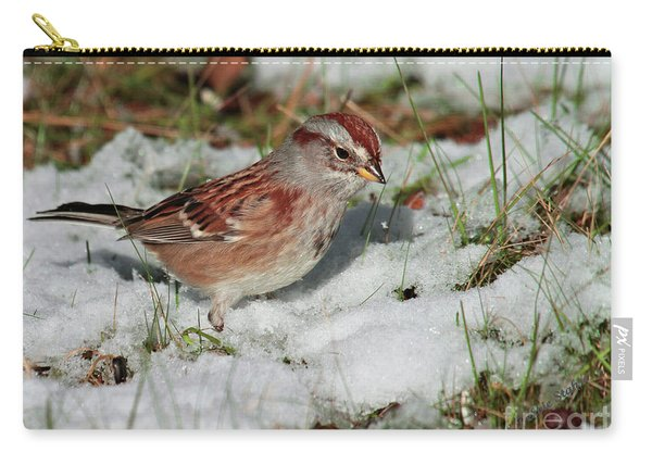 Tree Sparrow In Snow Carry-all Pouch