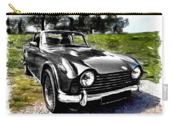 Triumph Tr5 Monochrome With Brushstrokes Carry-all Pouch