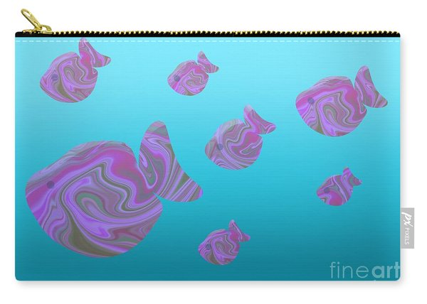 Tropical Fish In Pink Psychedelic Pattern Carry-all Pouch