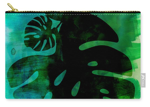 Tropical Monstera Leafs Watercolor Carry-all Pouch