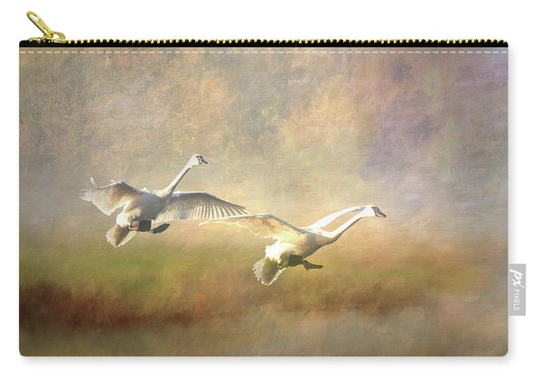 Trumpeter Swan Landing - Painterly Carry-all Pouch