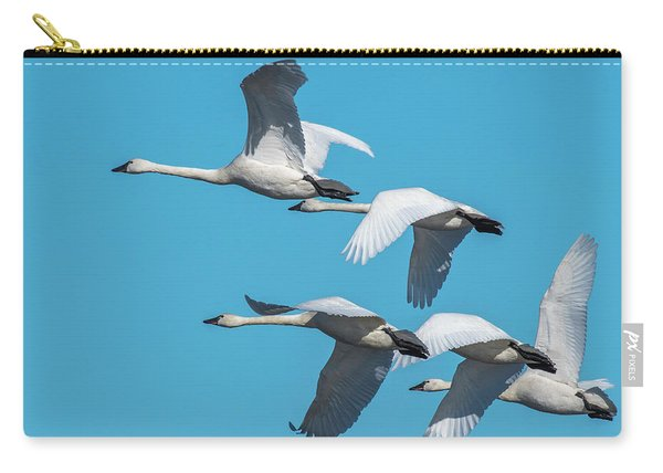 Tundra Swans In Flight Carry-all Pouch