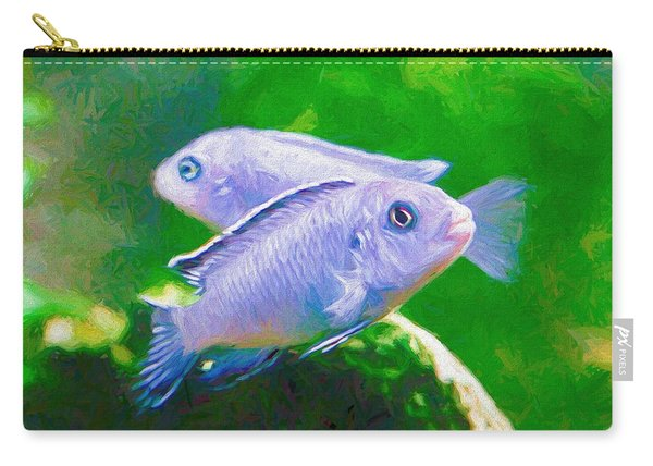 Carry-all Pouch featuring the digital art Twin Blue Zebra Cichlids Pen by Don Northup