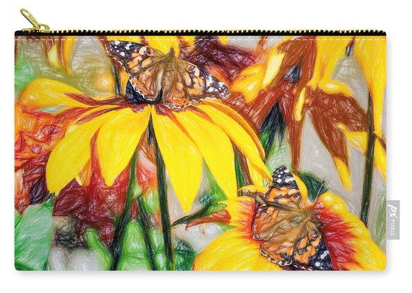 Twin Painted Lady Butterflies Pencil Carry-all Pouch