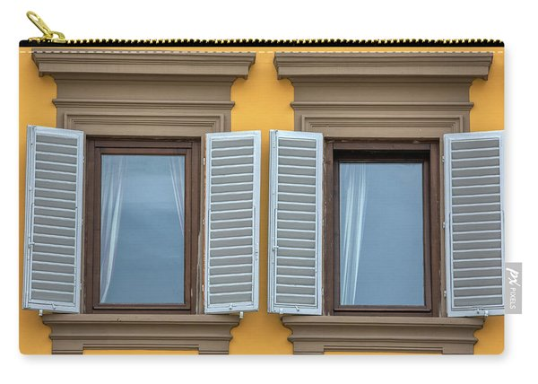 Two Blue Window Shutters Of Florence Carry-all Pouch