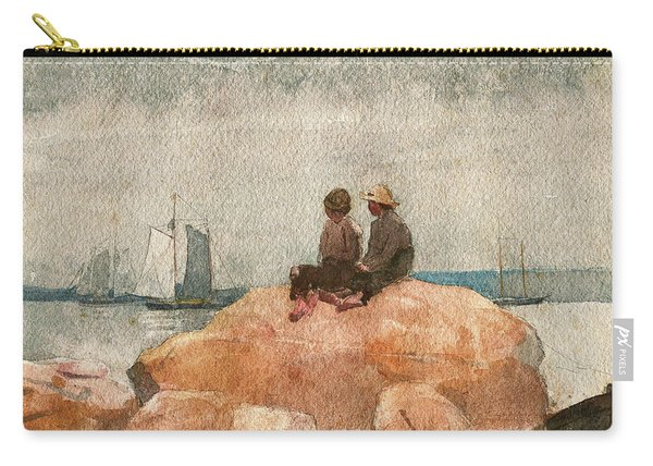 Two Boys Watching Schooners - Digital Remastered Edition Carry-all Pouch