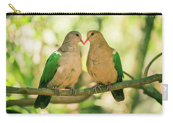 Two Colourful Doves Resting Outside On A Branch. Carry-all Pouch
