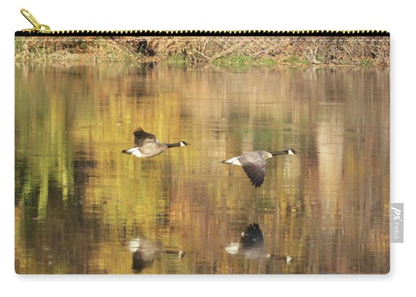 Two Geese Flying With Autumn Trees Reflection Carry-all Pouch