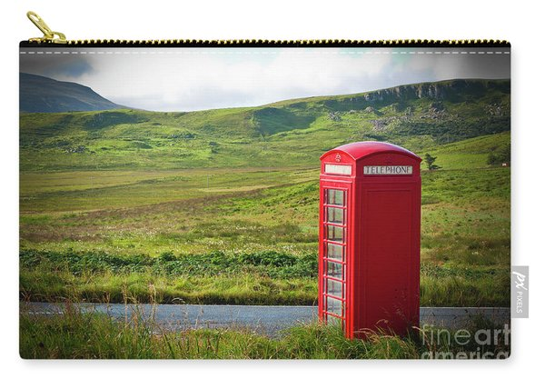 Typical Red English Telephone Box In A Rural Area Near A Road. Carry-all Pouch