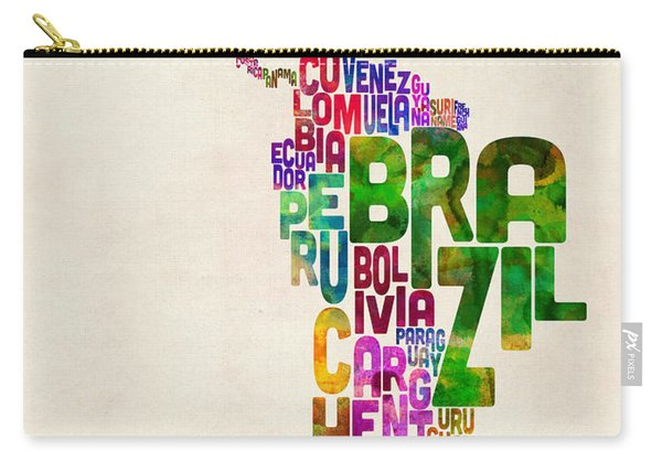 Typography Map Of Latin America, Mexico, Central And South America Carry-all Pouch
