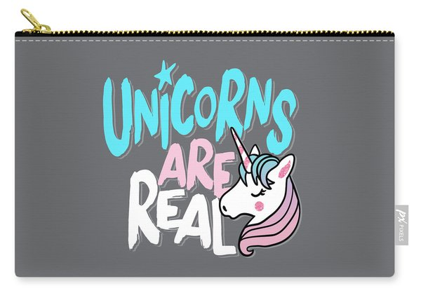 Unicorns Are Real - Baby Room Nursery Art Poster Print Carry-all Pouch