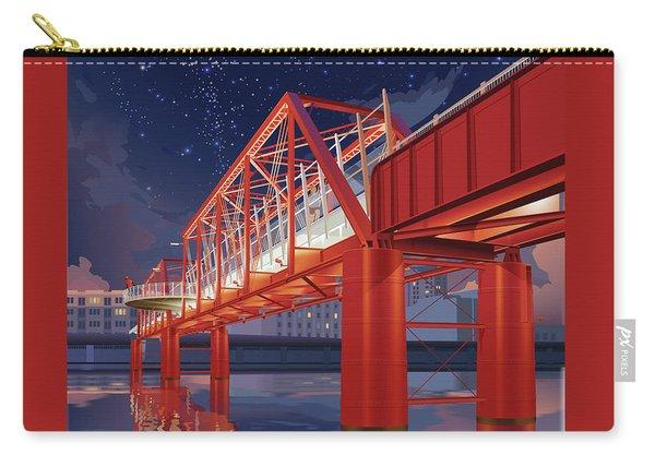 Carry-all Pouch featuring the digital art Union Railroad Bridge - Riverwalk by Clint Hansen