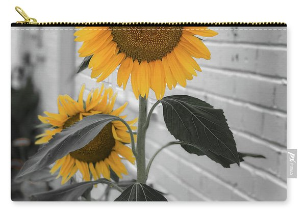 Urban Sunflower - Black And White Carry-all Pouch