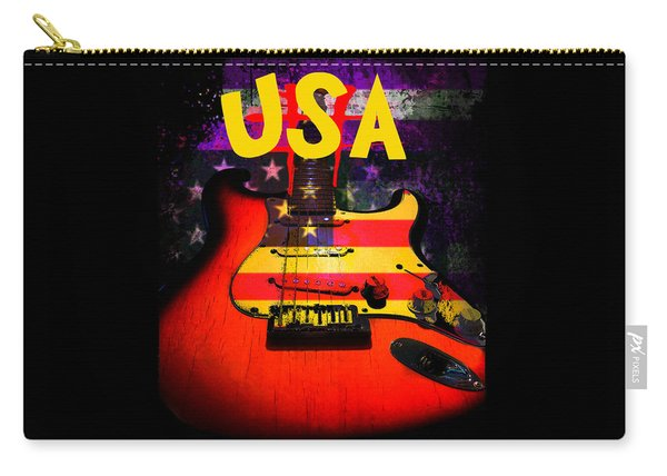 Usa Flag Guitar Purple Stars And Bars Carry-all Pouch