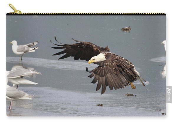 Carry-all Pouch featuring the photograph Valdez Eagle One by Jean Clark