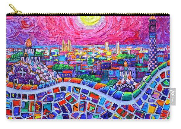 Vibrant Barcelona Night View From Park Guell Modern Impressionism Knife Painting Ana Maria Edulescu Carry-all Pouch