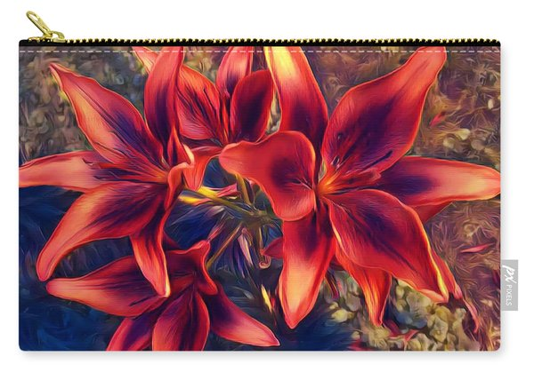 Vibrant Red Lilies Carry-all Pouch