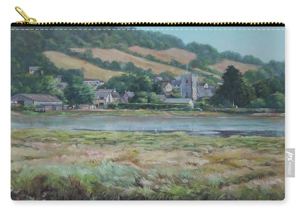 Carry-all Pouch featuring the painting Village Of Axmouth On The River Axe by Martin Davey