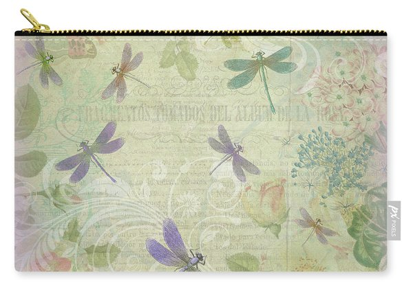Vintage Botanical Illustrations And Dragonflies Carry-all Pouch