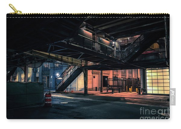 Vintage Chicago L Station At Night Carry-all Pouch