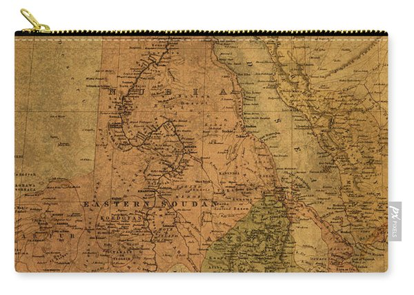 Vintage Map Of Egypt Sudan And Eritrea 1885 Carry-all Pouch