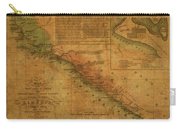 Vintage Map Of Liberia Africa 1830 Carry-all Pouch