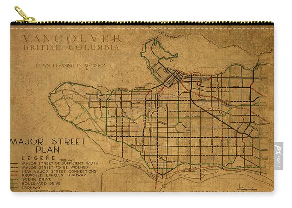 Vintage Map Of Vancouver Canada 1946 Carry-all Pouch