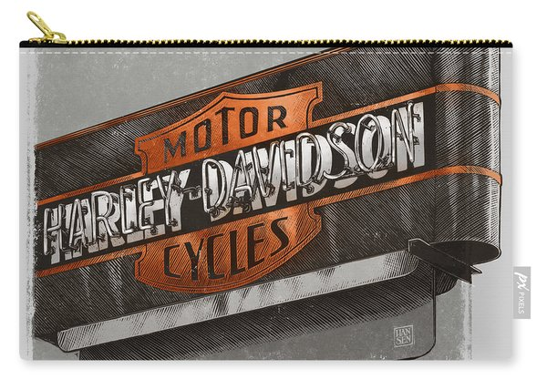 Carry-all Pouch featuring the drawing Vintage Motorcycle Shop by Clint Hansen