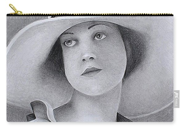 Vintage Woman In Brim Hat Carry-all Pouch