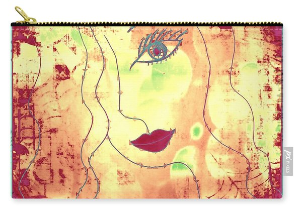 Carry-all Pouch featuring the mixed media Visage De Lumiere by Rachel Maynard