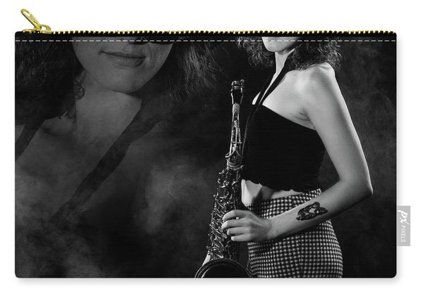 Carry-all Pouch featuring the photograph Vision Of Black And White Blues by Dennis Dame