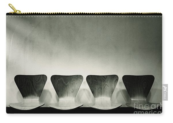 Waiting Room With Empty Wooden Chairs, Concept Of Waiting And Passage Of Time, Black And White Image, Free Space For Text. Carry-all Pouch