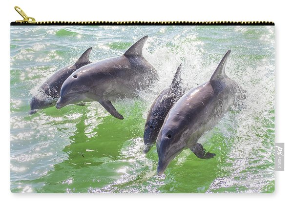 Wake Surfing Dolphin Family Carry-all Pouch