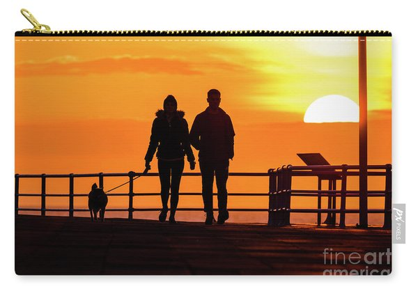 Walking The Dog At Sunset Carry-all Pouch