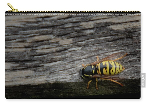 Carry-all Pouch featuring the photograph Wasp On Wood by Scott Lyons