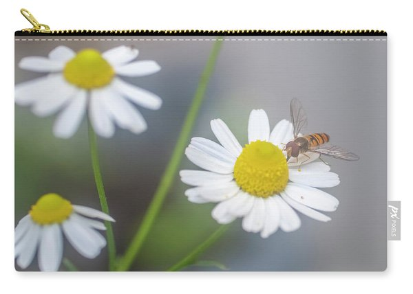 Wasp Visiting A Camomile Flower J1 Carry-all Pouch