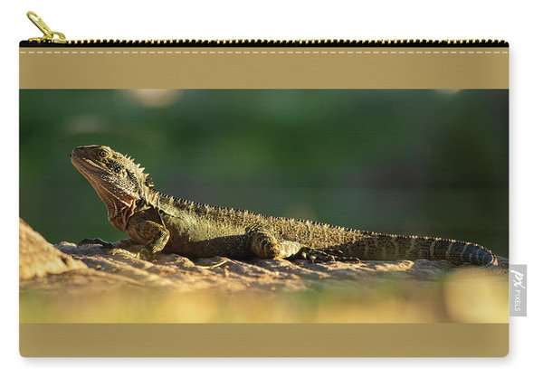 Carry-all Pouch featuring the photograph Water Dragon Lizard Outdoors by Rob D Imagery