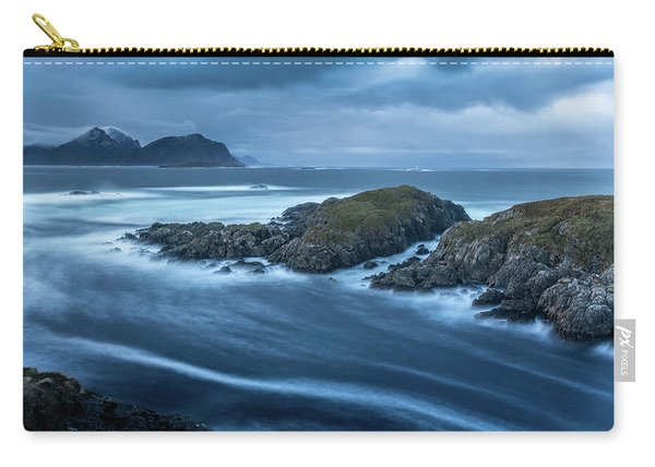 Water Flow At Stormy Sea Carry-all Pouch