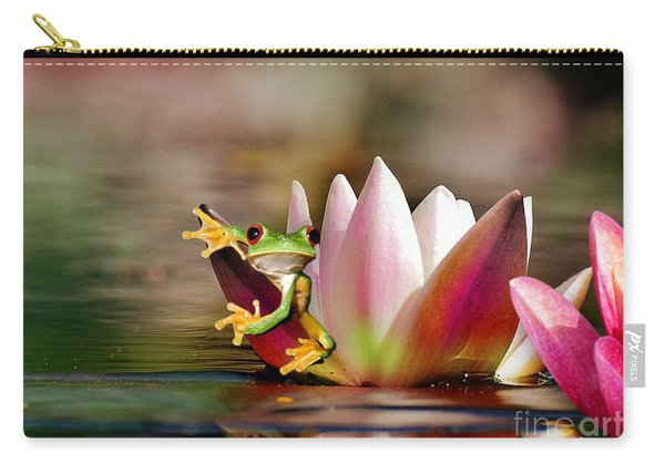 Water Lily And Frog Carry-all Pouch