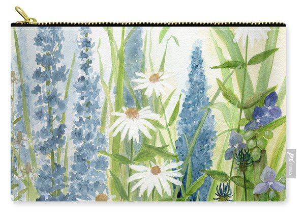 Watercolor Blue Flowers Carry-all Pouch