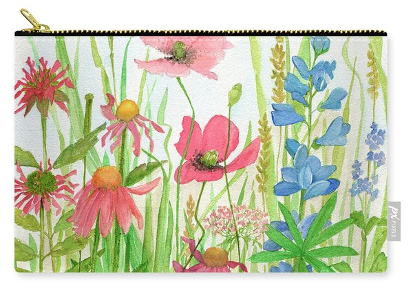 Watercolor Touch Of Blue Flowers Carry-all Pouch